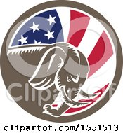 Clipart Of A Retro Woodcut Charging Elephant In An American Flag Circle Royalty Free Vector Illustration