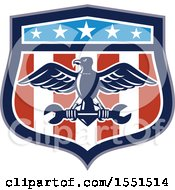 Clipart Of A Retro Eagle And Spanner Wrench In An American Shield Royalty Free Vector Illustration