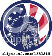 Clipart Of A Retro Woodcut Native American Chief In An American Flag Circle Royalty Free Vector Illustration