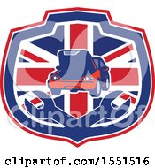 Clipart Of A Retro Auto Repair Design With A Car Over Wrenches In A Union Jack Shield Royalty Free Vector Illustration