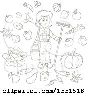 Clipart Of A Lineart Female Farmer With Produce Royalty Free Vector Illustration