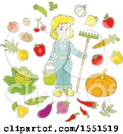 Clipart Of A Blond Caucasian Female Farmer With Produce Royalty Free Vector Illustration by Alex Bannykh