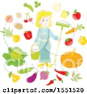 Clipart Of A Blond White Female Farmer With Produce Royalty Free Vector Illustration