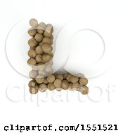 Clipart Of A 3d Wood Sphere Capital Letter L On A White Background Royalty Free Illustration by KJ Pargeter
