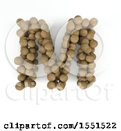 Clipart Of A 3d Wood Sphere Capital Letter M On A White Background Royalty Free Illustration