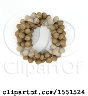 Clipart Of A 3d Wood Sphere Capital Letter O On A White Background Royalty Free Illustration