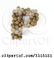Clipart Of A 3d Wood Sphere Capital Letter P On A White Background Royalty Free Illustration by KJ Pargeter
