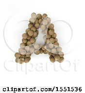 Clipart Of A 3d Wood Sphere Capital Letter A On A White Background Royalty Free Illustration by KJ Pargeter