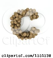 Clipart Of A 3d Wood Sphere Capital Letter C On A White Background Royalty Free Illustration