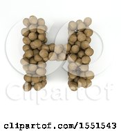 Clipart Of A 3d Wood Sphere Capital Letter H On A White Background Royalty Free Illustration