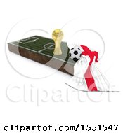 3d Soccer Ball Trophy Cup England Flag And Pitch On A Shaded Background
