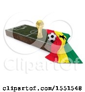 3d Soccer Ball Trophy Cup Ghana Flag And Pitch On A Shaded Background