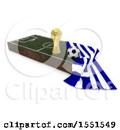 3d Soccer Ball Trophy Cup Greece Flag And Pitch On A Shaded Background