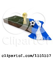 3d Soccer Ball Trophy Cup Honduras Flag And Pitch On A Shaded Background