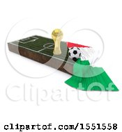 3d Soccer Ball Trophy Cup Italy Flag And Pitch On A Shaded Background