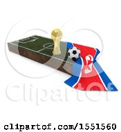 3d Soccer Ball Trophy Cup Korea Flag And Pitch On A Shaded Background
