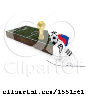 3d Soccer Ball Trophy Cup South Korea Flag And Pitch On A Shaded Background