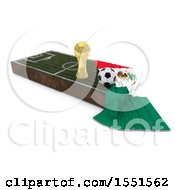 Poster, Art Print Of 3d Soccer Ball Trophy Cup Mexico Flag And Pitch On A Shaded Background