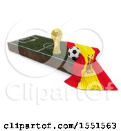 3d Soccer Ball Trophy Cup Spain Flag And Pitch On A Shaded Background