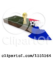 3d Soccer Ball Trophy Cup France Flag And Pitch On A Shaded Background
