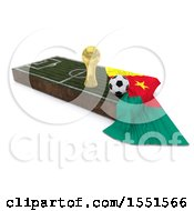 3d Soccer Ball Trophy Cup Cameroon Flag And Pitch On A Shaded Background