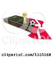 3d Soccer Ball Trophy Cup Denmark Flag And Pitch On A Shaded Background