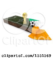 3d Soccer Ball Trophy Cup Ivory Coast Flag And Pitch On A Shaded Background