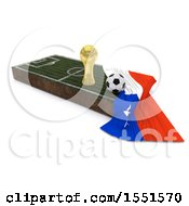 3d Soccer Ball Trophy Cup Chile Flag And Pitch On A Shaded Background