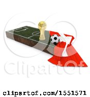 3d Soccer Ball Trophy Cup Switzerland Flag And Pitch On A Shaded Background
