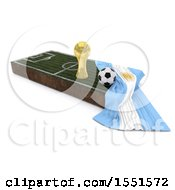 3d Soccer Ball Trophy Cup Argentina Flag And Pitch On A Shaded Background