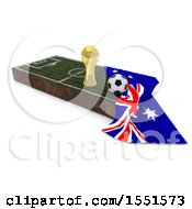 3d Soccer Ball Trophy Cup Australia Flag And Pitch On A Shaded Background