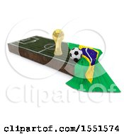 3d Soccer Ball Trophy Cup Brazil Flag And Pitch On A Shaded Background