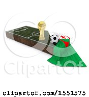 3d Soccer Ball Trophy Cup Algeria Flag And Pitch On A Shaded Background