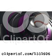Poster, Art Print Of 3d Baseball And Metal Background
