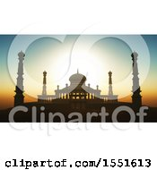 Clipart Of A 3d Silhouetted Mosque Against A Sunset Sky Royalty Free Illustration by KJ Pargeter