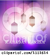 Clipart Of A Ramadan Kareem Greeting With Silhouetted Lanterns Royalty Free Vector Illustration by KJ Pargeter