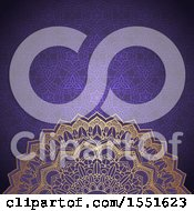 Clipart Of A Golden Mandala On A Purple Pattern Royalty Free Vector Illustration