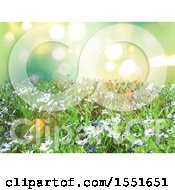 Clipart Of A 3d Daisy And Grass Background Royalty Free Illustration