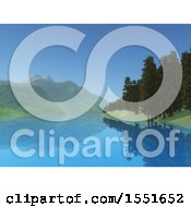 Clipart Of A 3d Still Lake Mountain And Forest Landscape Royalty Free Illustration