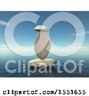 Clipart Of A 3d White Zen Balanced Rocks And An Ocean Landscpe Royalty Free Illustration