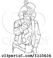 Clipart Of A Lineart Clown Pointing Royalty Free Vector Illustration