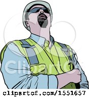 Clipart Of A Construction Worker Looking Up Royalty Free Vector Illustration