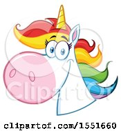 Clipart Of A Rainbow Haired Unicorn Mascot Royalty Free Vector Illustration by Hit Toon