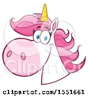 Clipart Of A Pink Haired Unicorn Mascot Royalty Free Vector Illustration
