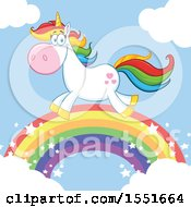 Colorful Haired Unicorn Running On A Rainbow
