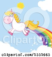 Clipart Of A Flying Unicorn With A Rainbow Trail Royalty Free Vector Illustration
