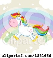 Clipart Of A Colorful Haired Unicorn Flying Over A Rainbow Royalty Free Vector Illustration