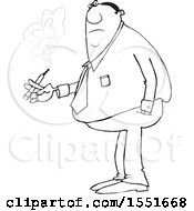 Clipart Of A Cartoon Lineart Chubby Black Business Man Smoking A Cigarette Royalty Free Vector Illustration
