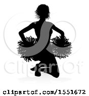 Silhouetted Cheerleader With A Reflection Or Shadow On A White Background