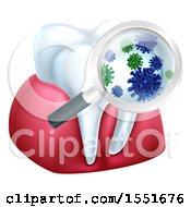 Clipart Of A Magnifying Glass Over A Tooth And Gums Displaying Bacteria Royalty Free Vector Illustration